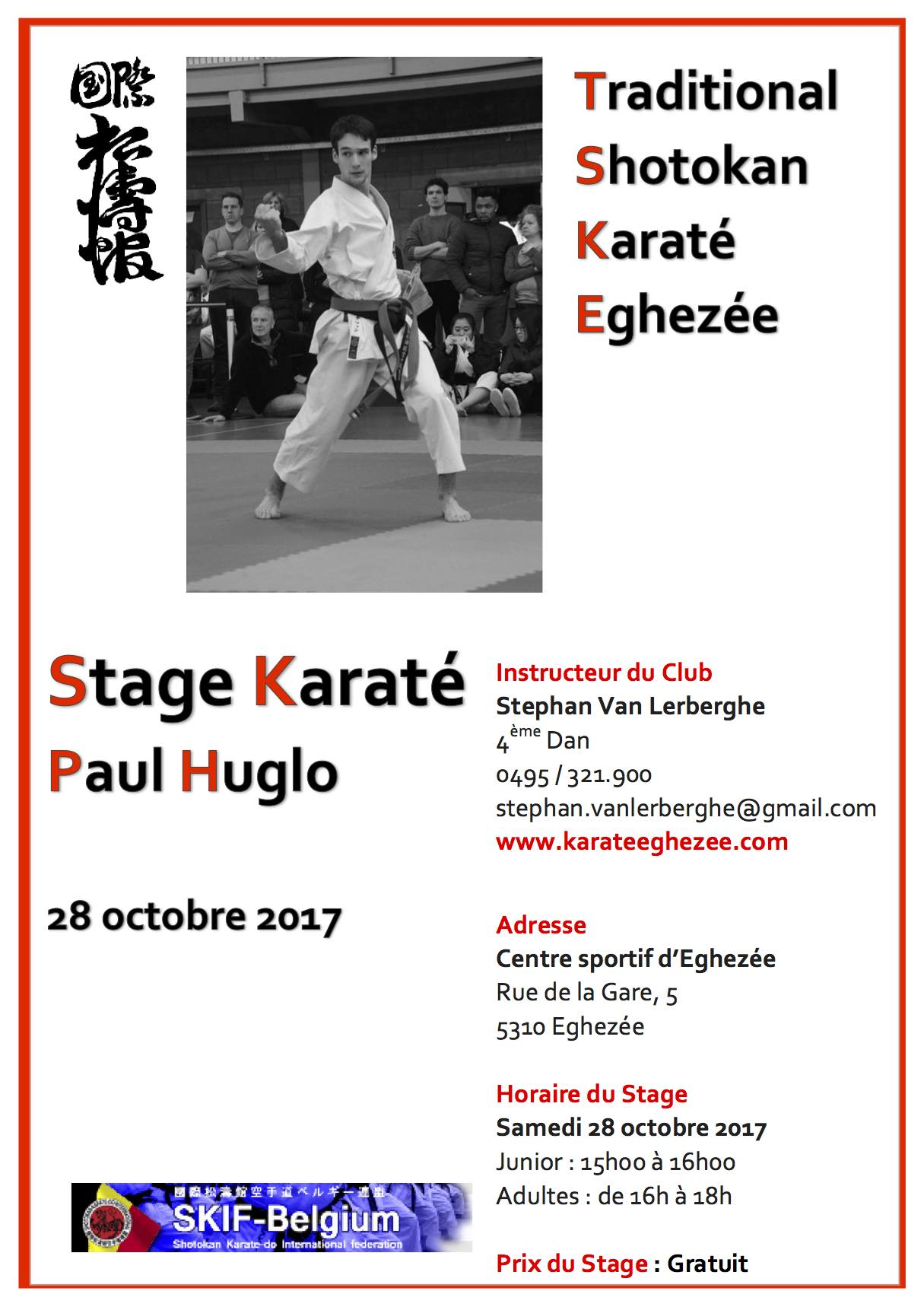 Affiche de stage paul huglo 28 oct 2017