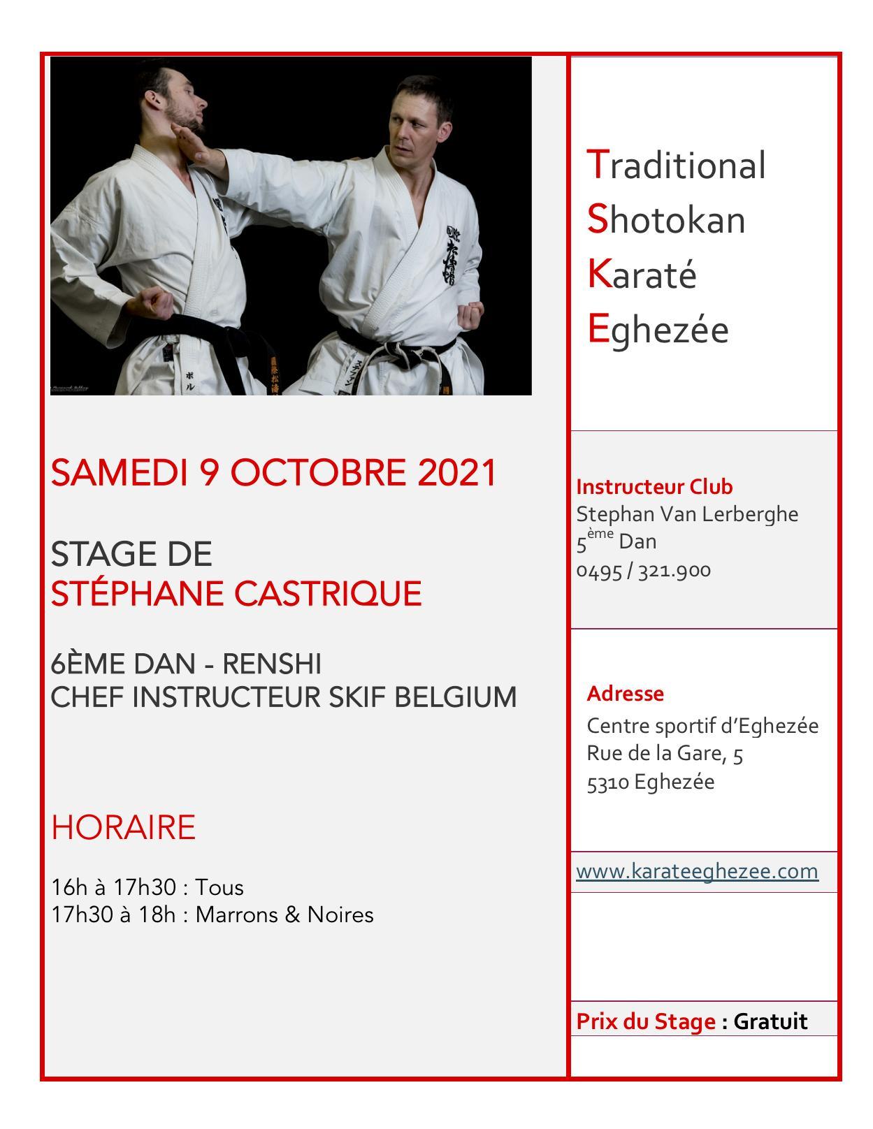 Stage ste phane castrique samedi 9 octobre 2021